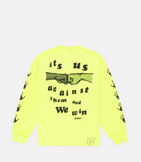US & THEM L/S TEE - NEON YELLOW
