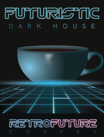 Case of Retrofuturistic Dark House 2oz bags for brewing coffee at an establishment