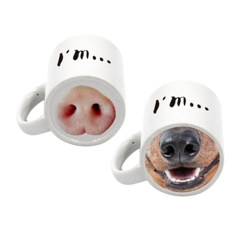 Cute Animal Nose Ceramic Mug, Pig or Dog
