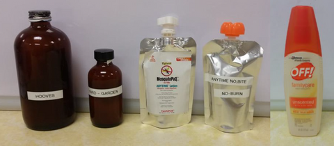 Fig . 3. Repellent treatments (STILL TAILS™, ZONE DEFENSE, no-bite, no-bite/no-burn, and DEET 7%) (left to right).