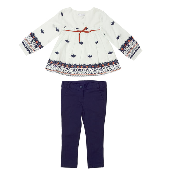 White Shirt& Navy Trouser Set