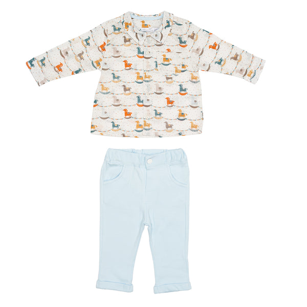 Rocking Horse Shirt& Blue Trouser Set