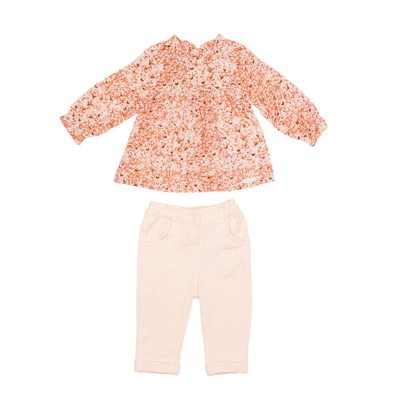 Floral Shirt& Pink Trouser Set