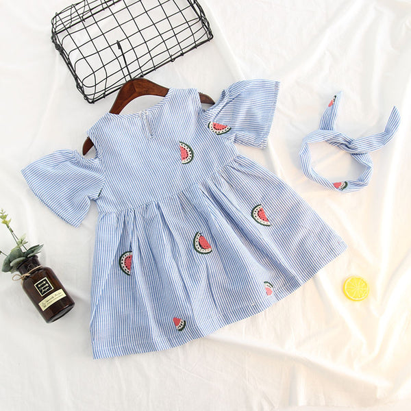 Blue Striped Watermelon Dress With Headband