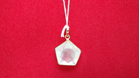#1189G. Rose Quartz Pointed Pentagram. Gold 20mm