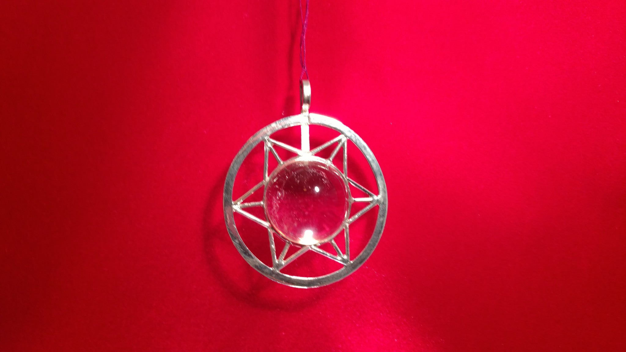 #1508. Clear Quartz Specialty Sphere. 6 Pointed Star 21g