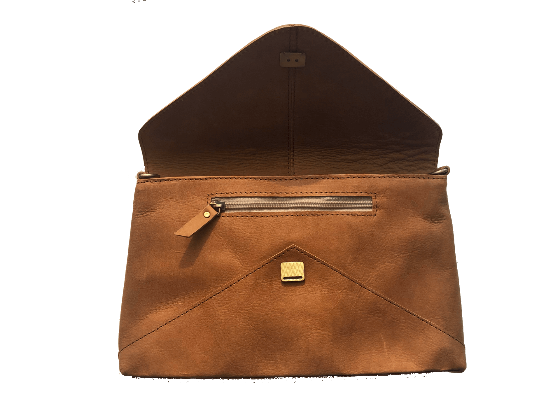madrid tan leather envelope pouch exterior