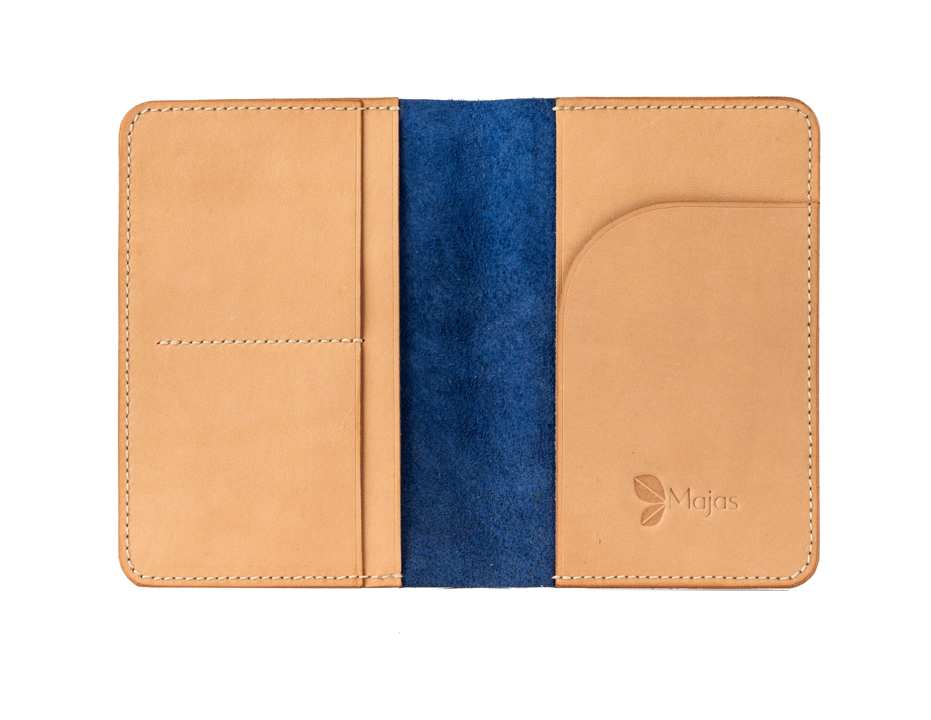 Arya navy leather passport wallet