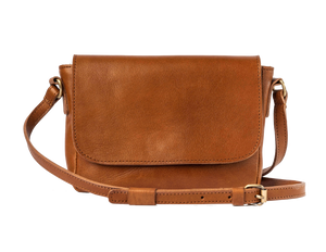 siena cognac leather cross body bag