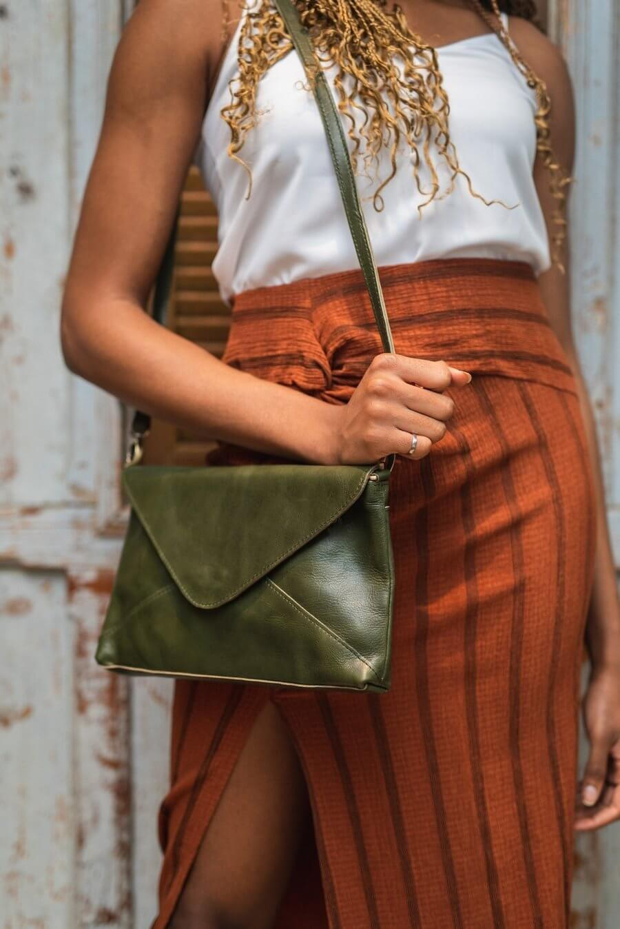 Madrid Olive Envelope Pouch and Cross Body Bag on Model
