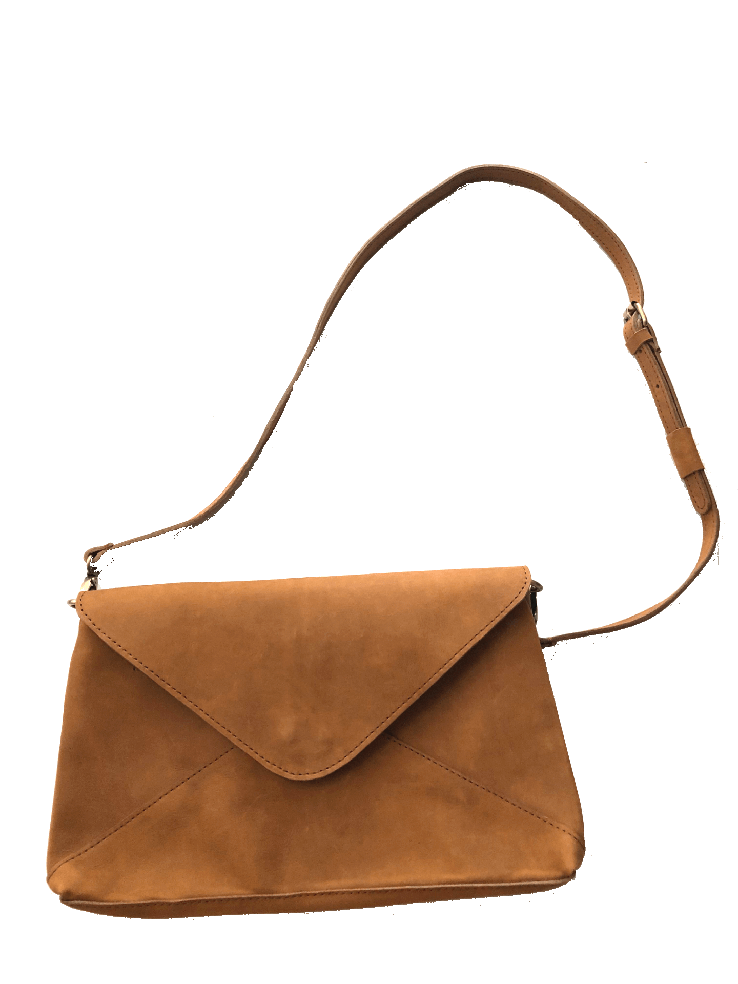 Madrid Tan Leather Envelope Pouch with Strap cross body bag