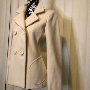 Cream Designer Fitted Pea Coat