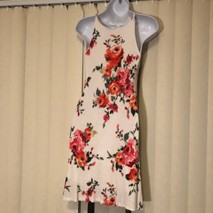 Cream with Floral Print Slip Dress