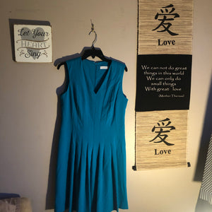 Calvin Klein Dress Turquoise pleated dress size 12