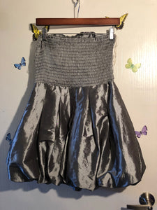 Daisy Strapless Grey Satin Dress
