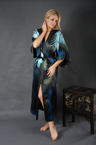 Silk Cocoon Women Kimono Dressing Gown Hand Painted Egret Ordchids Pur e8a14d513