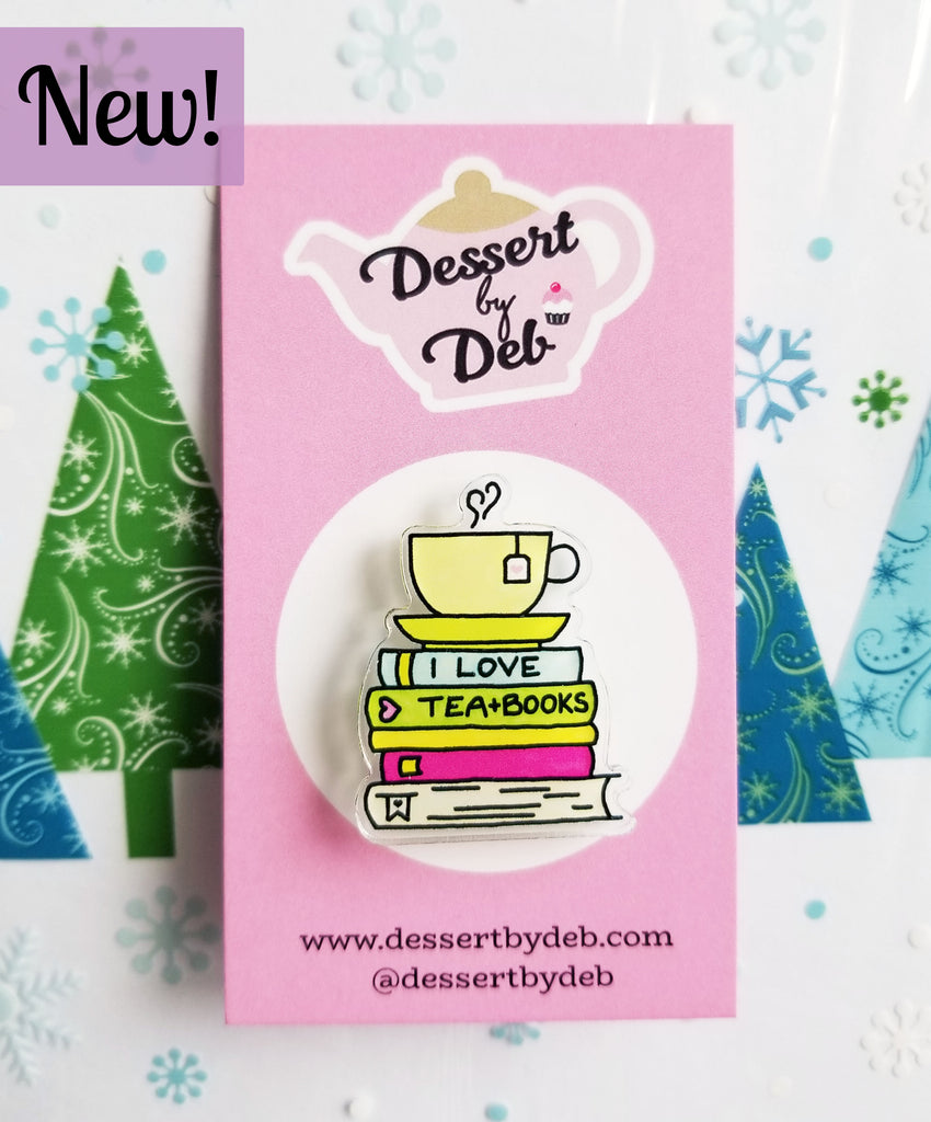 Tea Lovers Acrylic Tea Pin, Series 2 - I Love Tea & Books
