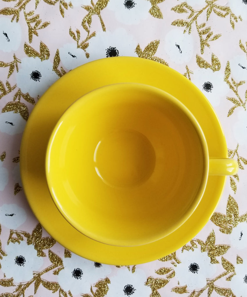 Lemon Yellow Teacup & Saucer Set