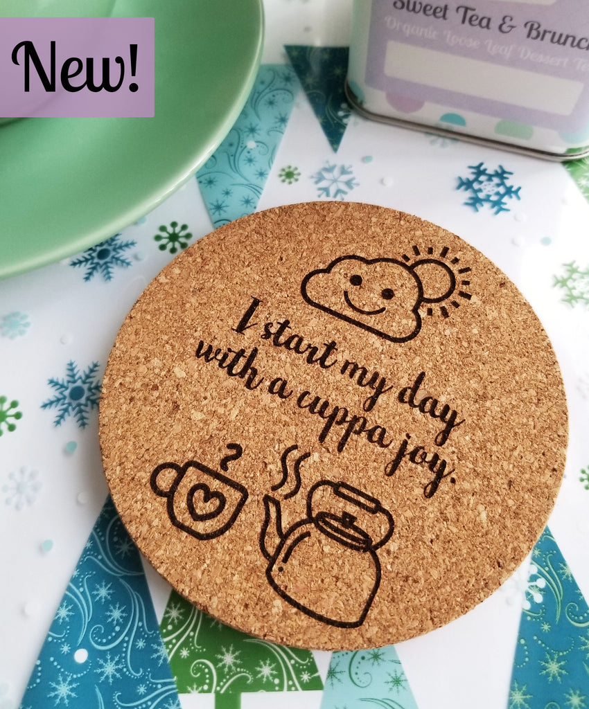 Morning Cuppa Joy Cork Coaster Set of 2