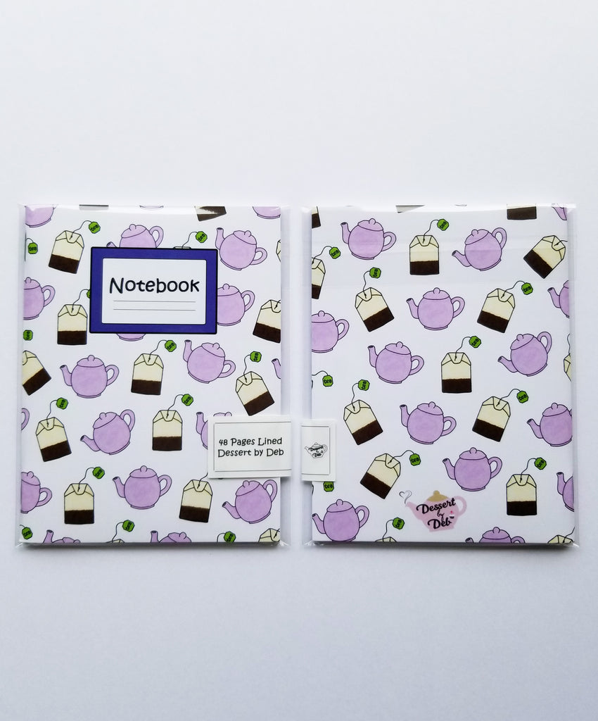 It's Time for Tea notebook (Purple Teapot & Teabags) - Dessert by Deb