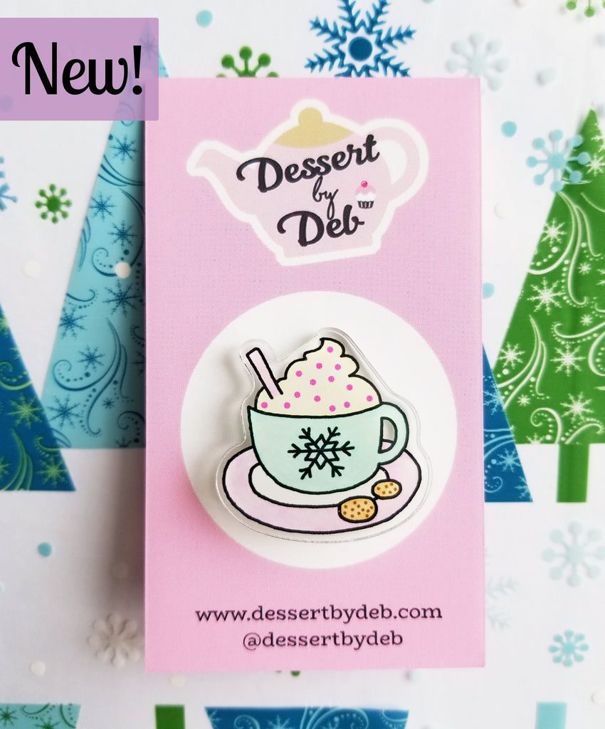 Tea Lovers Acrylic Tea Pin, Series 2 - Winter Hug in a Mug