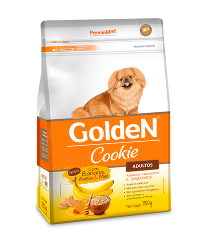 Biscoito Premier Pet Golden Cookie Banana Aveia e Mel para Cães Adultos - 350g