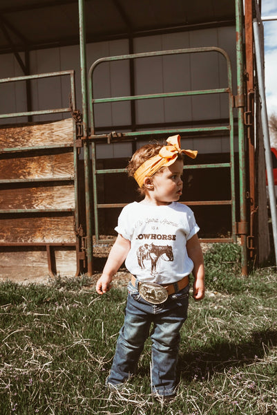 my spirit animal is a cowhorse toddler unisex western graphic tee white cowboy cowgirl little ranch kid
