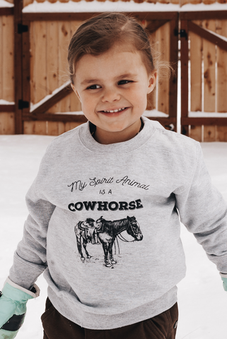 """My Spirit Animal is a Cowhorse"" Toddler Sweatshirt in Heather Gray"