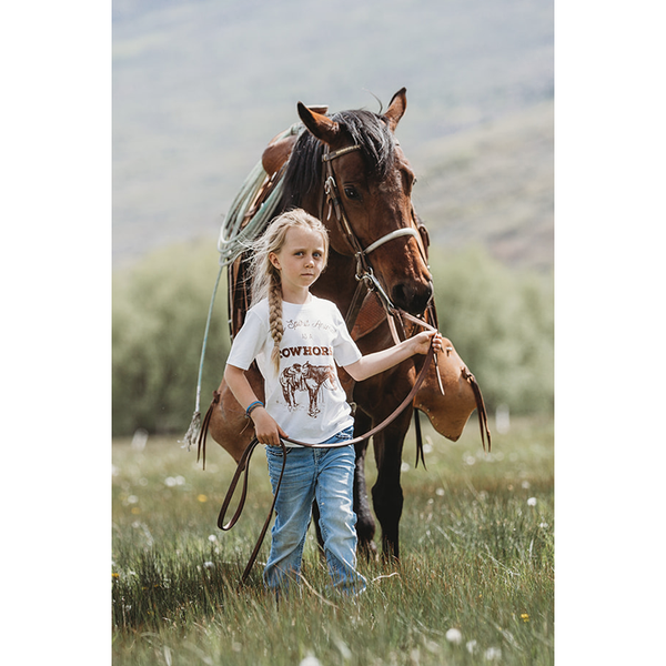 """Cowhorse"" Kids Western Graphic Tee in Snow"