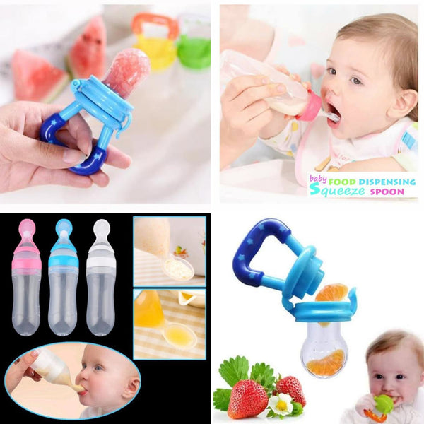 Baby's Weaning and Feeding Set - Fresh Food Pacifier & Squeeze Bottle with Spoon
