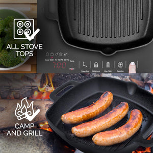 Pre-Seasoned 26cm Square Cast Iron Grill Pan