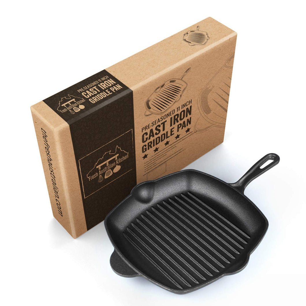 Pre-Seasoned 28cm Square Cast Iron Griddle Skillet Frying Pan
