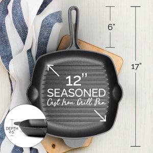 Pre-Seasoned 28cm Square Cast Iron Grill Skillet Frying Pan