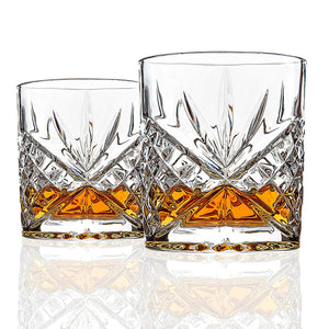 Van Daemon - 'Star of Salamanca' Whiskey Glasses - Lead Free Crystal. Set of 2 Tumblers for Liquor.