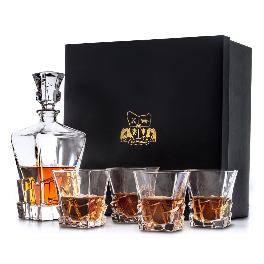 Whisky Decanter (750ml) and Set of 4 Glasses (300ml). 'Launceston' Lead Free Crystal by Van Daemon for Spirits.
