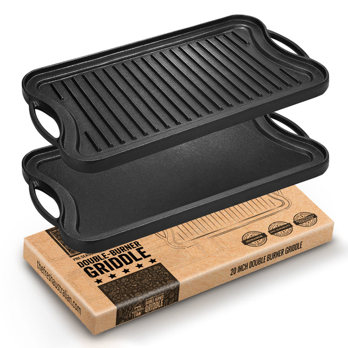Pre-Seasoned 51x26cm Cast Iron Reversible Double Burner Griddle