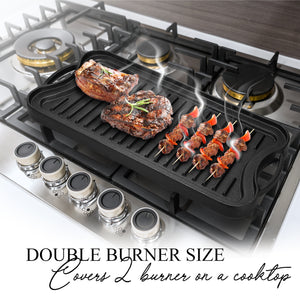 Double burner size - covers two burners on a cooktop