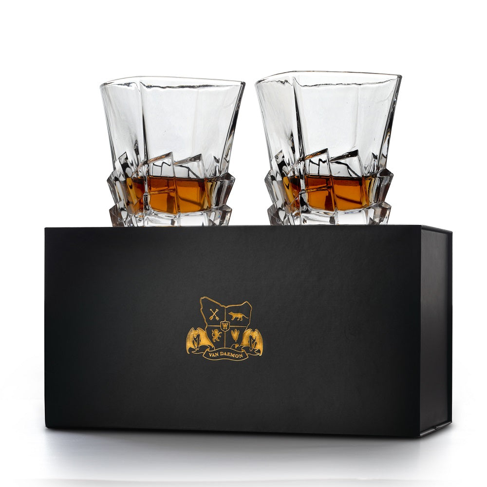 Van Daemon - 'Launceston' Whiskey Glasses - Lead Free Crystal. Set of 2 Tumblers for Liquor.