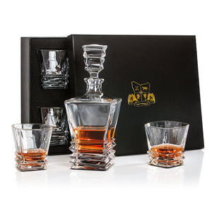 Whiskey decanter set with 4 whisky glasses. Lead free Crystal. Gift Presentation Box