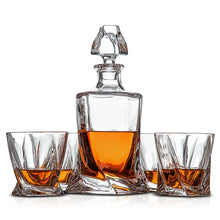 Load image into Gallery viewer, Whiskey decanter set with 4 whisky glasses. Lead free Crystal. Gift Presentation Box