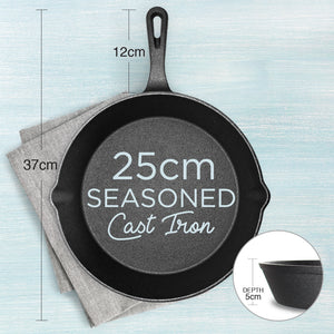 Pre-Seasoned 25cm Cast Iron Skillet Frying Pan