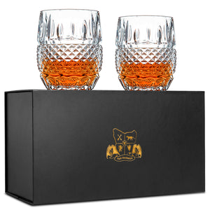 Whiskey Glasses Set of 2 - Van Daemon 'Crystal Cask'. Lead Free Crystal. Tumblers for Liquor.
