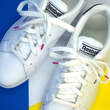 Lacets coton sneakers blanc et rose fuchsia - Made in France - Petit-détail.com