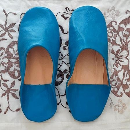 Stay Boho Blue Leather Moroccan Slippers