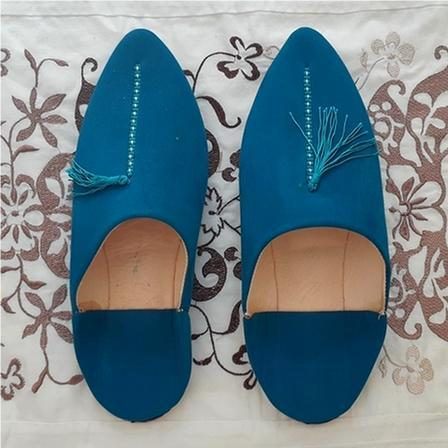 Stay Boho Blue Suede Leather Moroccan Slippers