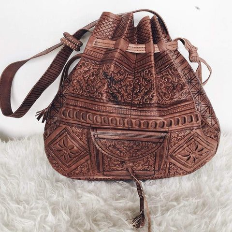 Stay Boho Brown Genuine Leather Moroccan Shoulder Bag