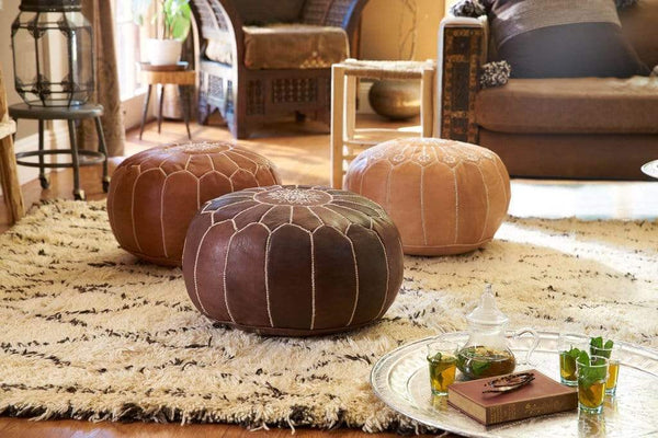 Stay Boho Brown on Brown Moroccan Leather Pouf