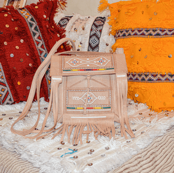 Stay Boho Embroidered Leather Moroccan Bag
