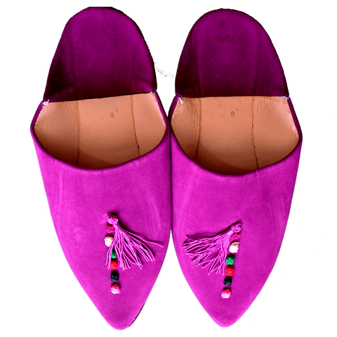 Stay Boho Purple Suede Leather Moroccan Slippers