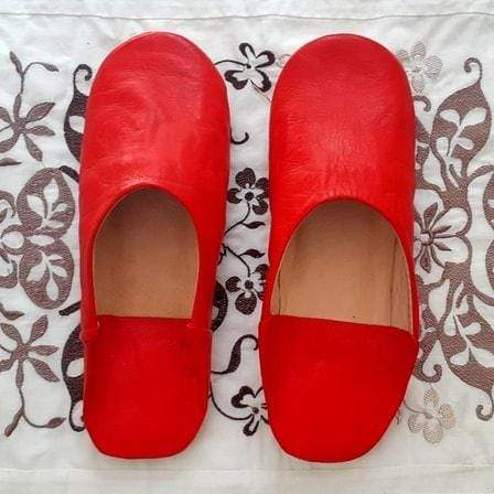 Stay Boho Red Leather Moroccan Slippers